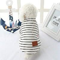 小型犬のシャツ猫服チワワDOGGYZSTYLEのためにストライプペットシャツコットンベスト子犬ブランドTシャツ夏の犬服:XS、白