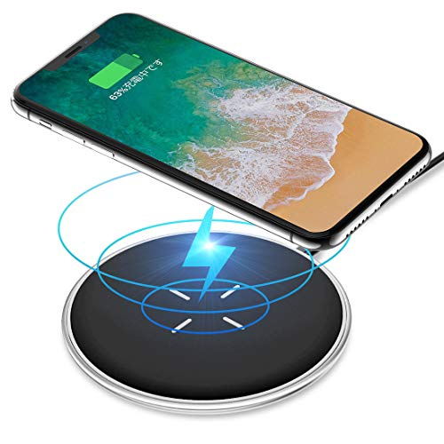 ワイヤレス充電器 Qiワイヤレスチャージャー Andobilスマホワイヤレス充電器 滑り止め Qi無線充電器 置くだけ簡単充電 軽量ワイヤレス急速充電器 iPhone 8/8 Plus / Ⅹ / Galaxy S9 / S9+ / S8 /S8+ / S7 / S7 edge / S6 / 等 Android機種 Qi対応 (丸型 プラック)