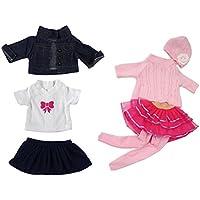 Dovewill ちょう結びTシャツ トップ ジーンズ スカート 7点セット 18インチアメリカンガールドール人形に適用