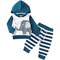 Oklady Infant Baby Boys Clothes Long Sleeve Elephant Hoodie Sweatshirt with Stripe Pants Outfits Set