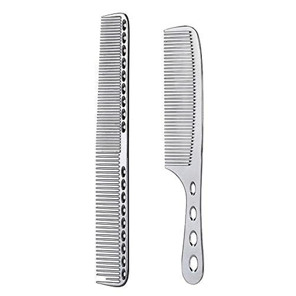 粘性のカストディアンチャート2 pcs Stainless Steel Hair Combs Anti Static Styling Comb Hairdressing Barbers Combs (Silver) [並行輸入品]