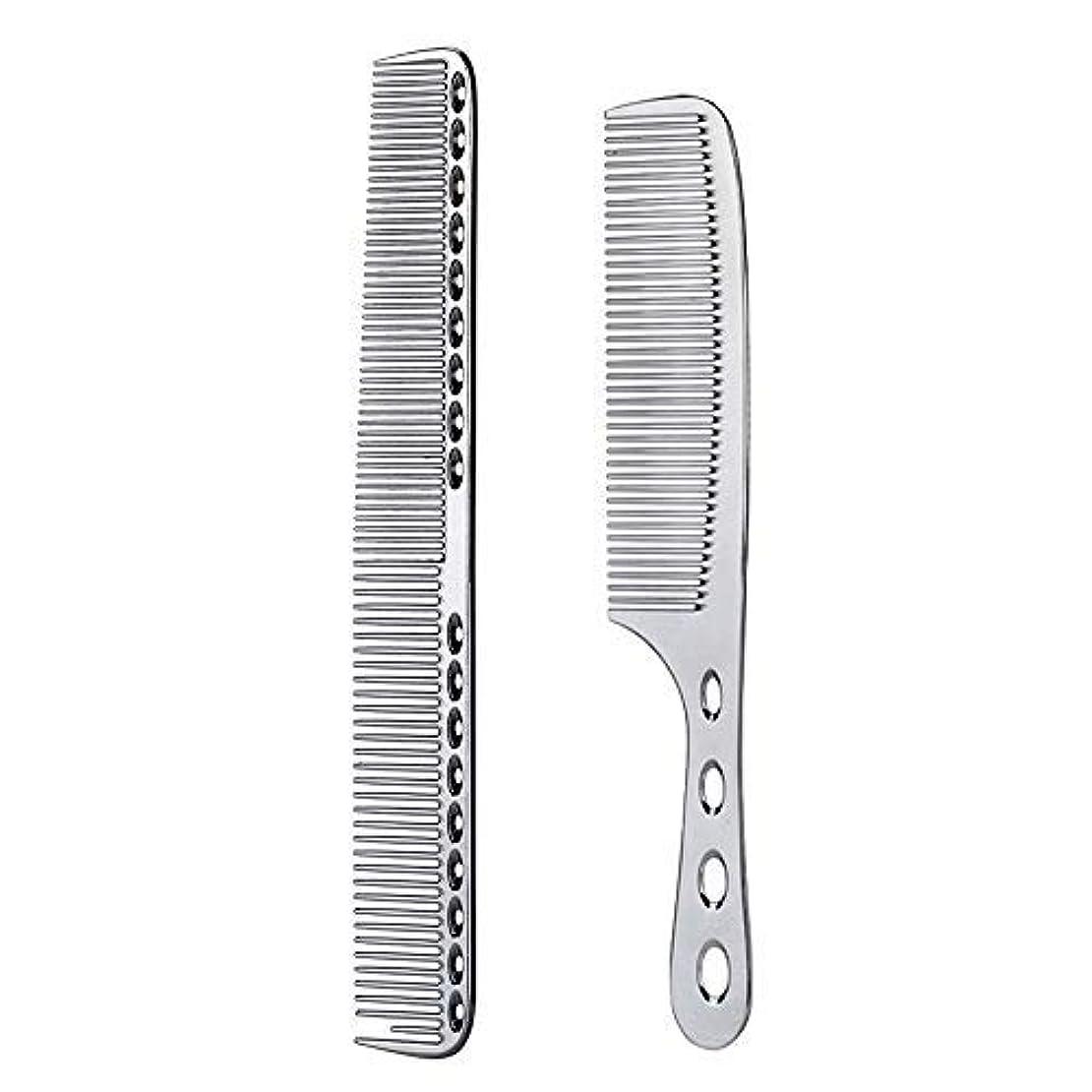 異常造船繊毛2 pcs Stainless Steel Hair Combs Anti Static Styling Comb Hairdressing Barbers Combs (Silver) [並行輸入品]
