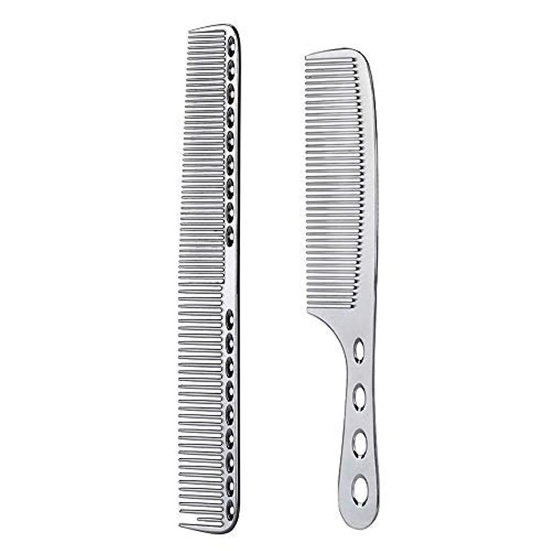 みなさんレンチ終わらせる2 pcs Stainless Steel Hair Combs Anti Static Styling Comb Hairdressing Barbers Combs (Silver) [並行輸入品]