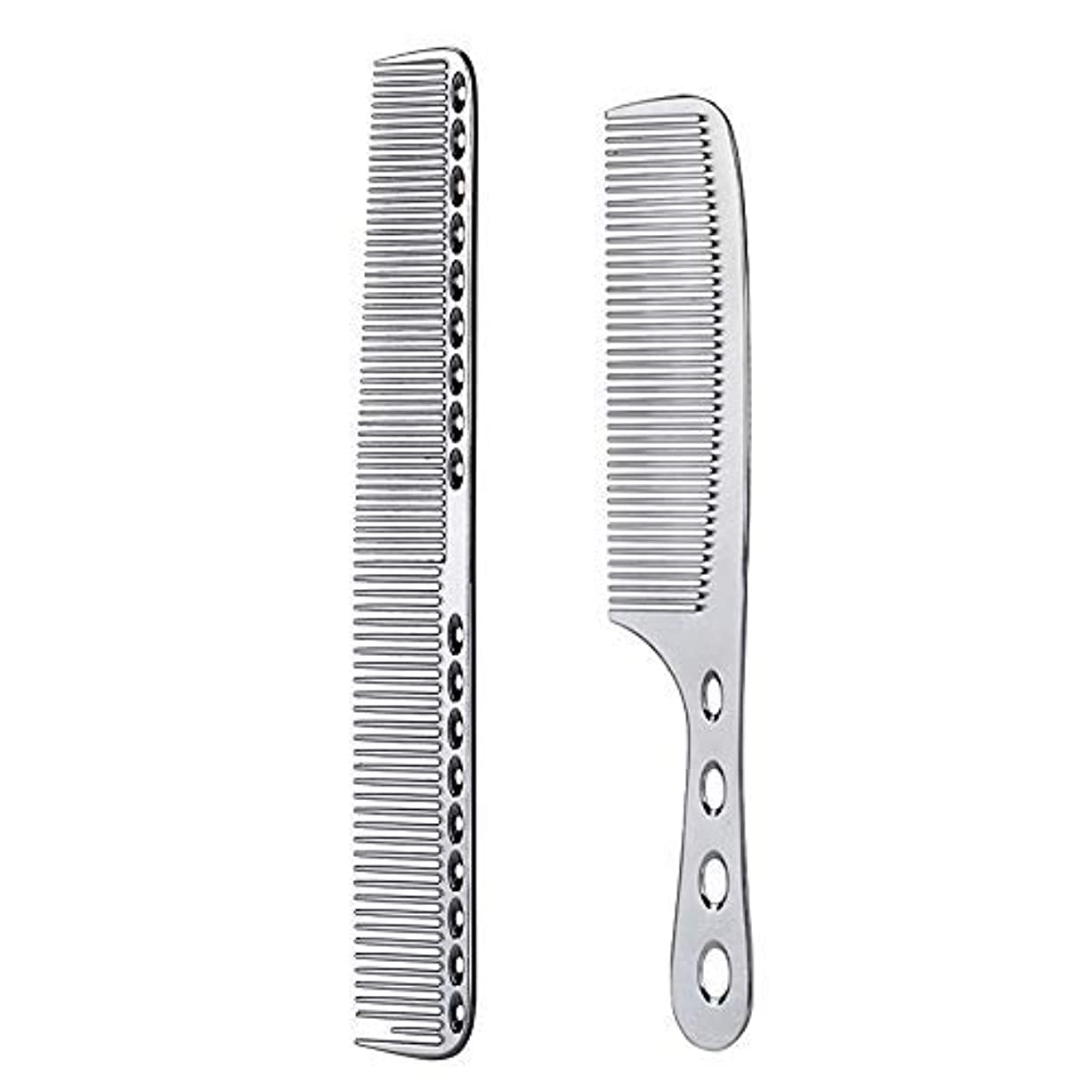 任意小石生産的2 pcs Stainless Steel Hair Combs Anti Static Styling Comb Hairdressing Barbers Combs (Silver) [並行輸入品]