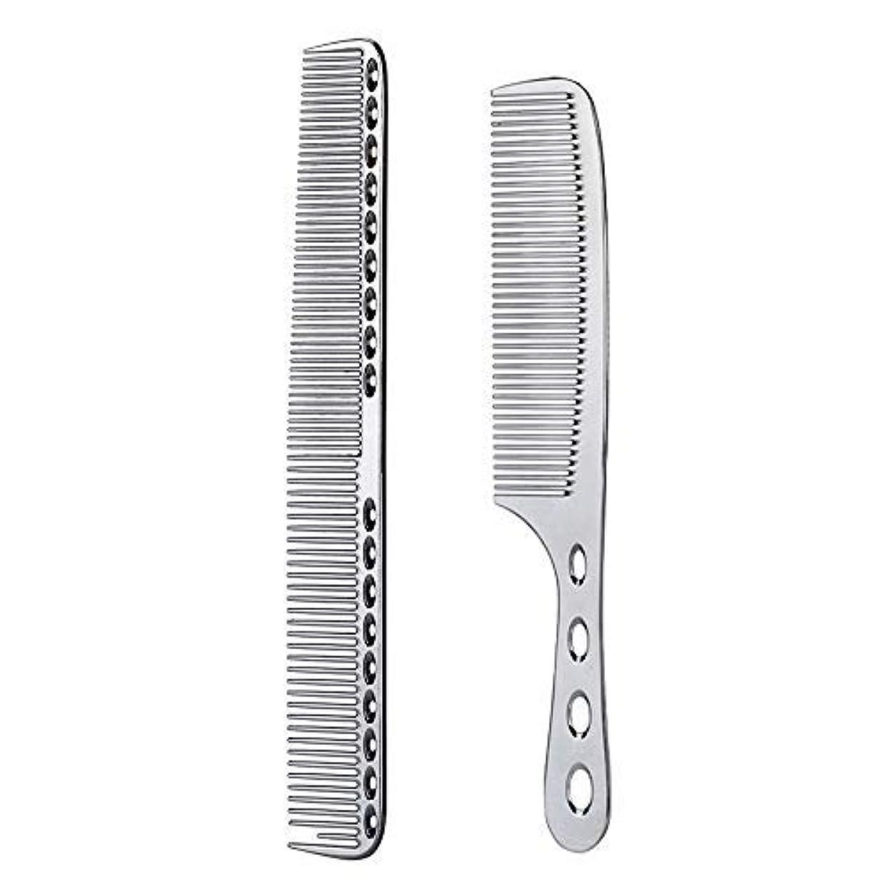 海賊哲学的運賃2 pcs Stainless Steel Hair Combs Anti Static Styling Comb Hairdressing Barbers Combs (Silver) [並行輸入品]