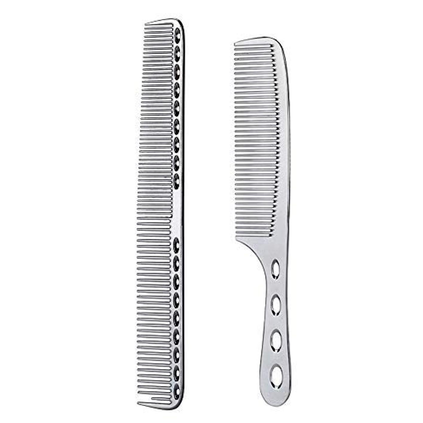 オーバードロー農奴さわやか2 pcs Stainless Steel Hair Combs Anti Static Styling Comb Hairdressing Barbers Combs (Silver) [並行輸入品]
