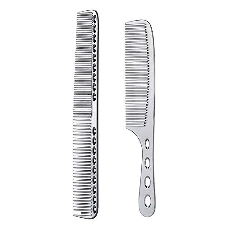 矩形延期する前文2 pcs Stainless Steel Hair Combs Anti Static Styling Comb Hairdressing Barbers Combs (Silver) [並行輸入品]