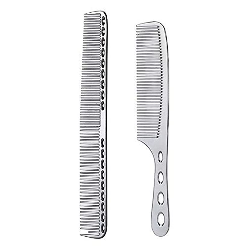 比較悲しい公然と2 pcs Stainless Steel Hair Combs Anti Static Styling Comb Hairdressing Barbers Combs (Silver) [並行輸入品]