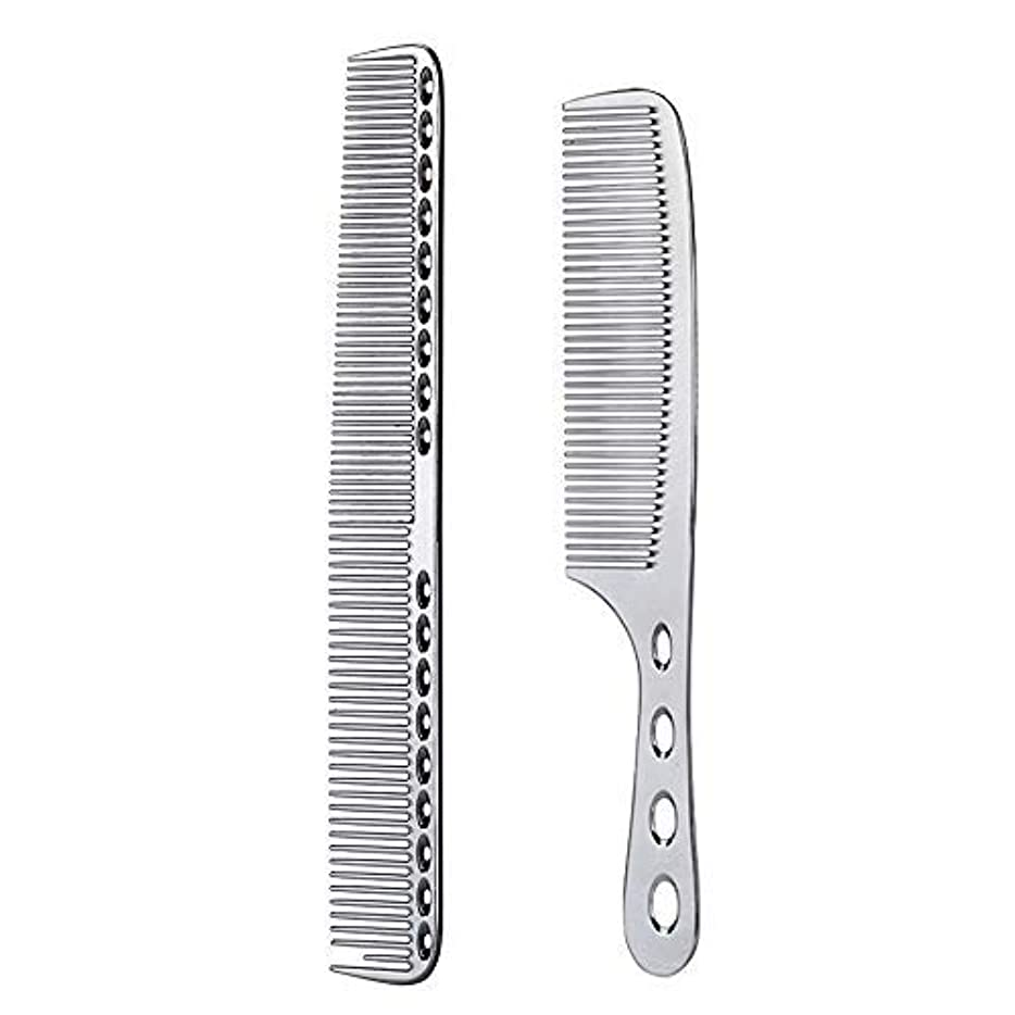 もっと少なく経度八2 pcs Stainless Steel Hair Combs Anti Static Styling Comb Hairdressing Barbers Combs (Silver) [並行輸入品]