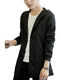 chenshiba-JP 男子軽量の葉のフード付きのスリムフィットウィンドブレーカージャケット