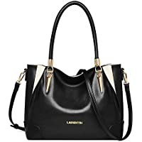 LAORENTOU Women Roomy Genuine Leather Tote Classy Handbags Shoulder Bag