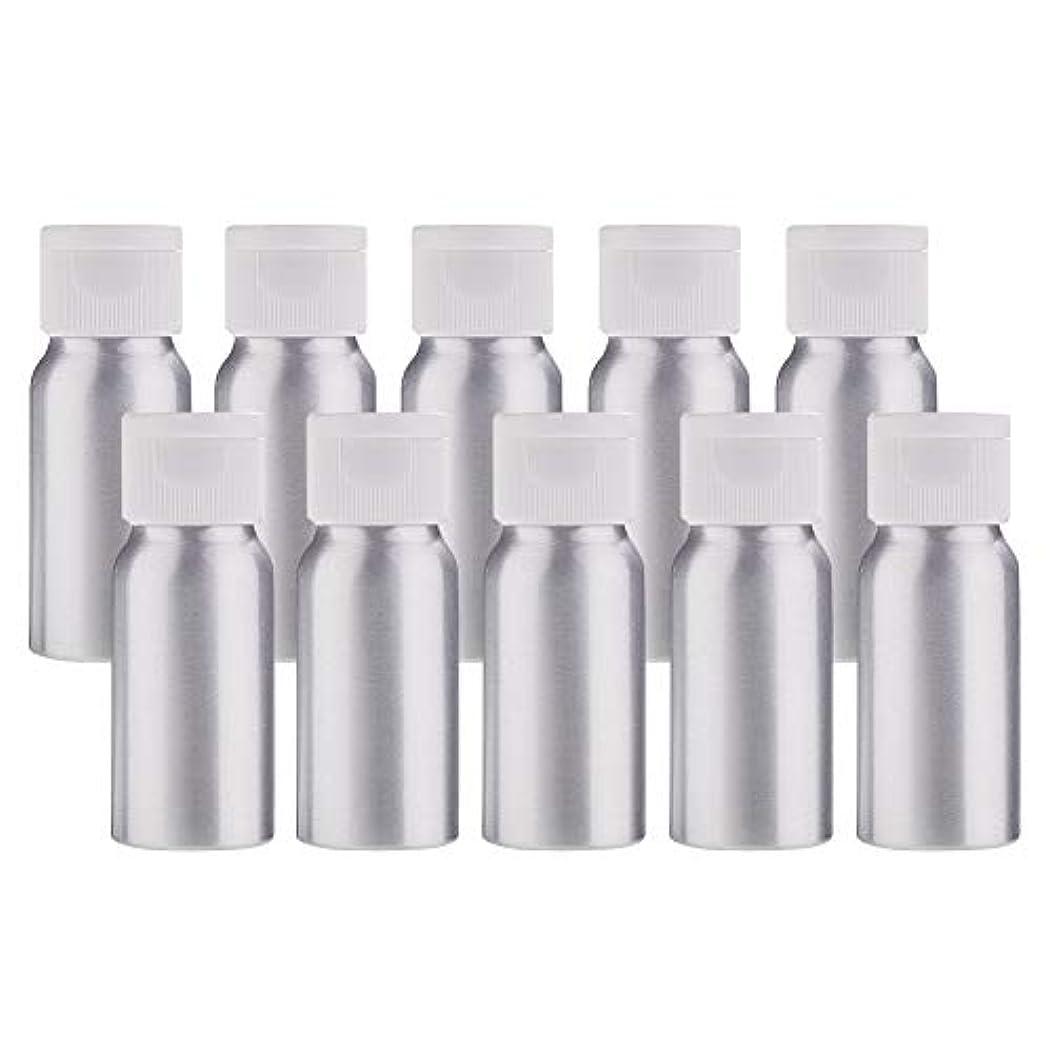 不実ユーザー政策BENECREAT 10個セット30mlアルミボトル フリップカバー空瓶 防錆 遮光 軽量 化粧品 アロマ 小分け 詰め替え 白いプラスチック蓋