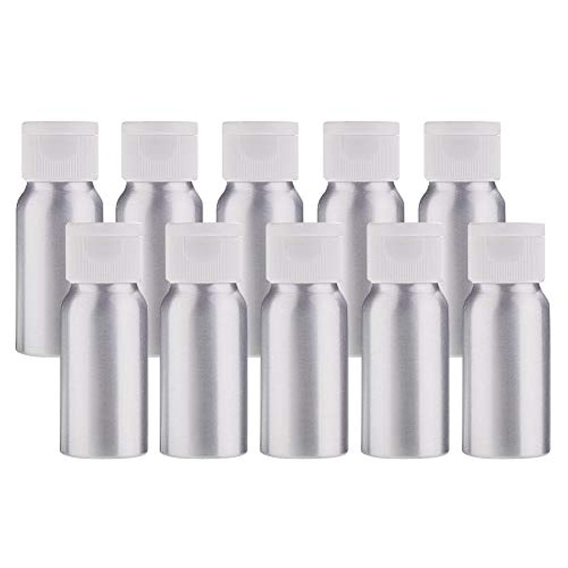 貢献する歩き回る予定BENECREAT 10個セット30mlアルミボトル フリップカバー空瓶 防錆 遮光 軽量 化粧品 アロマ 小分け 詰め替え 白いプラスチック蓋