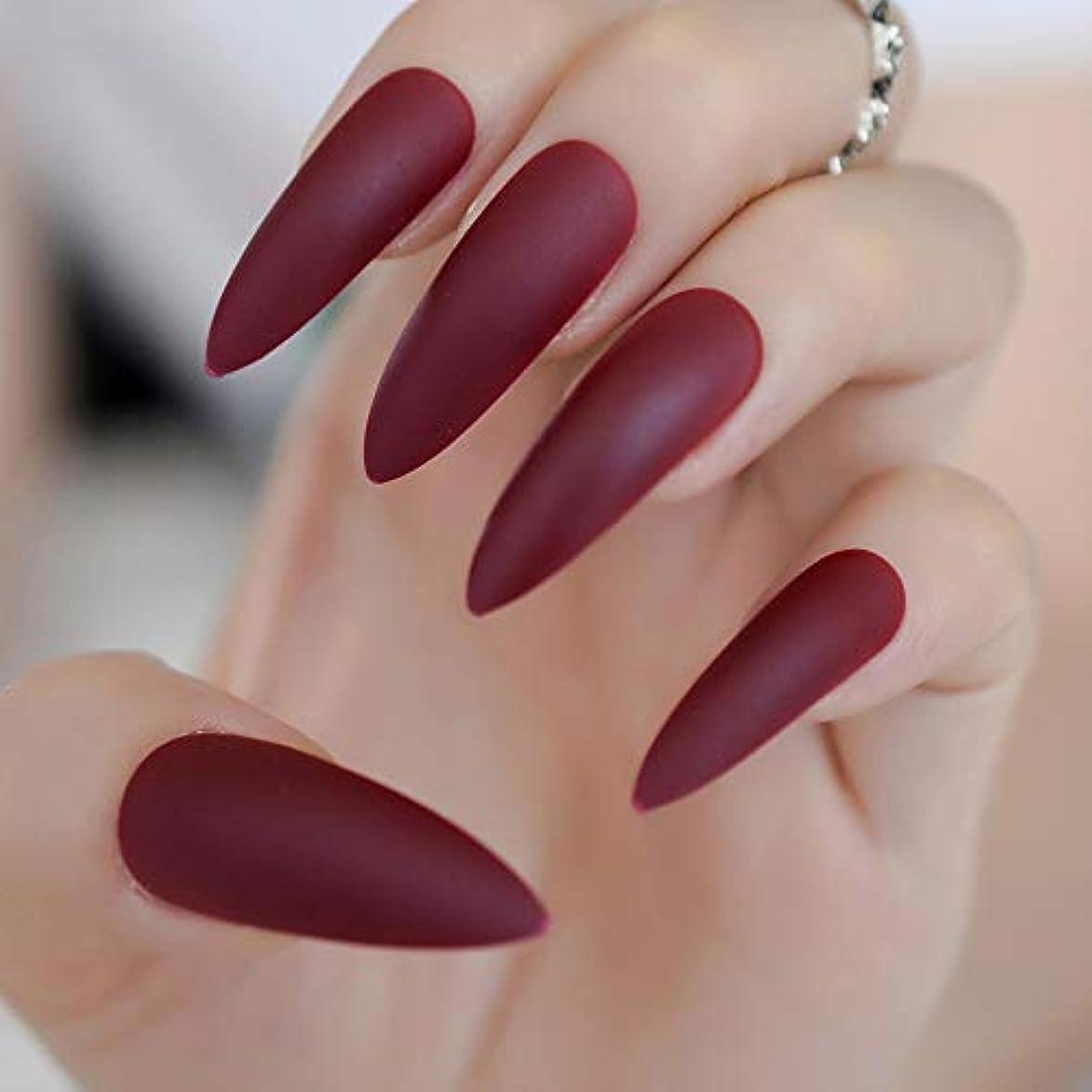 鋭く現金メールを書くXUTXZKA 爪の赤いマットスティレット人工爪のヒントつや消し先の釘キットのロングマットプレス