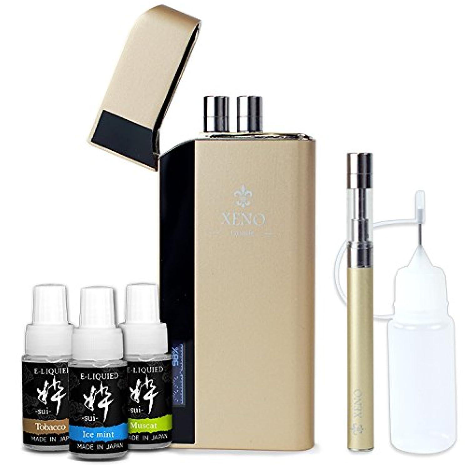 アコード北東自分のために電子タバコ XENO Giselle本体1本+国産リキッド粋3本+ニードルボトル (ゴールド) (ゴールド)