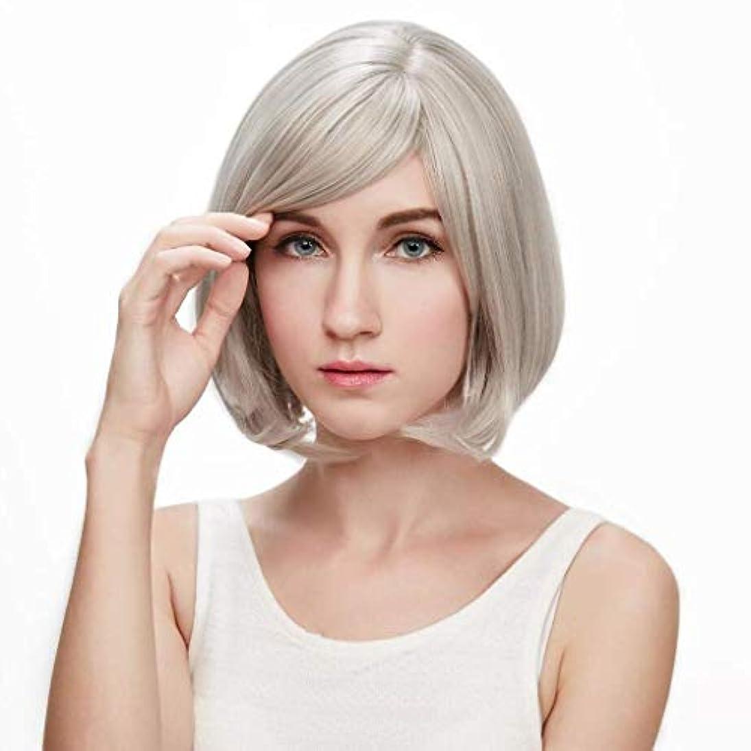 覚醒ソフトウェア未接続LRLTERRY 女性用ウィッグ、レディースホワイトショートストレートヘアリアルヘアライクリアルヘア