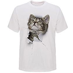 (RONGUI) Tシャツ 猫 おもしろ トリックアート カジュアル シンプル ブラックネコ (S, NO.5)