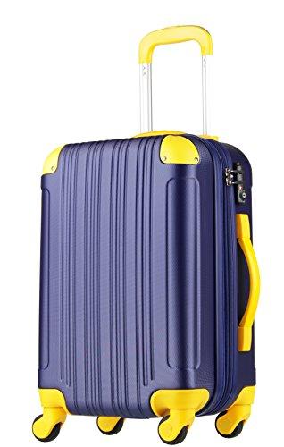 スーツケース (機内持込サイズ(1~3泊/33(拡張時40)L), ネイビー/イエロー)...