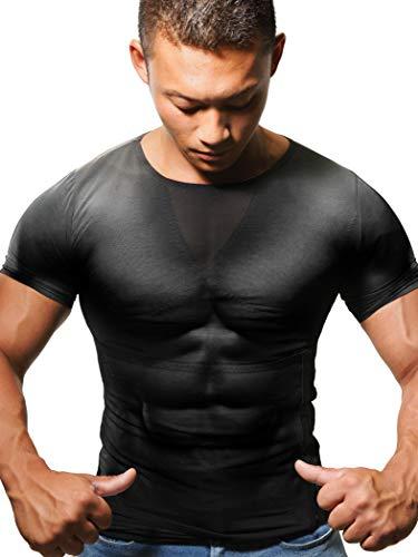 トリプルエス 加圧インナー 加圧シャツ 筋トレ マッスルエックス 着るだけマッチョ 着圧下着 (斬L(ウエスト85~120cm), 黒)