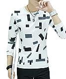 [meryueru(メリュエル)] ブロック パターン カットソー カジュアル トップス お洒落 韓国 ファッション 長袖 メンズ