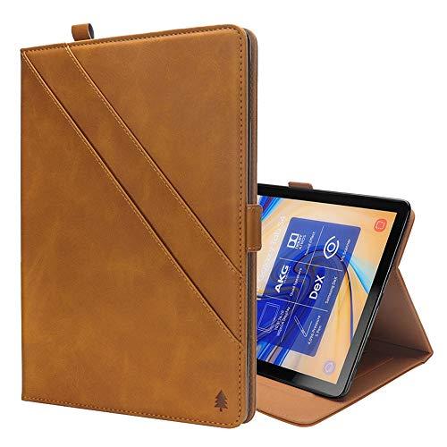 GzPuluz 保護ケース PCアクセサリー Galaxy Tab S4 10.5 T830 / T835用カードスロット&フォトフレーム&ペンスロット付き、水平フリップダブルホルダーレザーケース (色 : ライト・ブラウン)