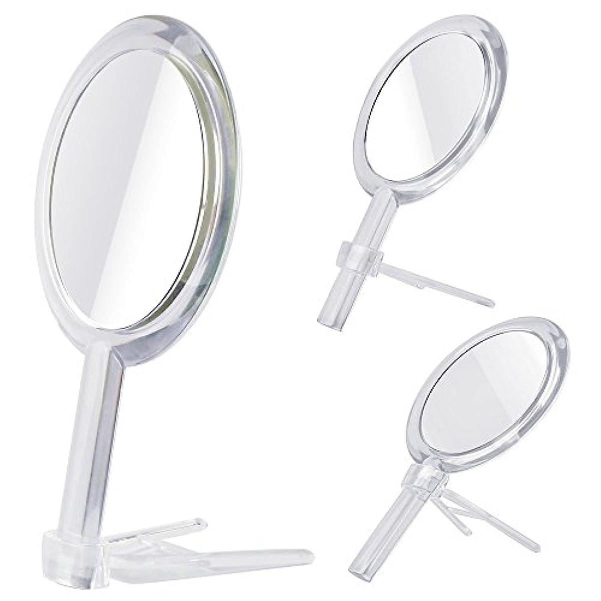 修羅場取り囲む持つGotofine 両面鏡 手鏡 卓上鏡 7倍と等倍 ハンドミラー スタンドミラー 化粧鏡 メイク クリア 円形