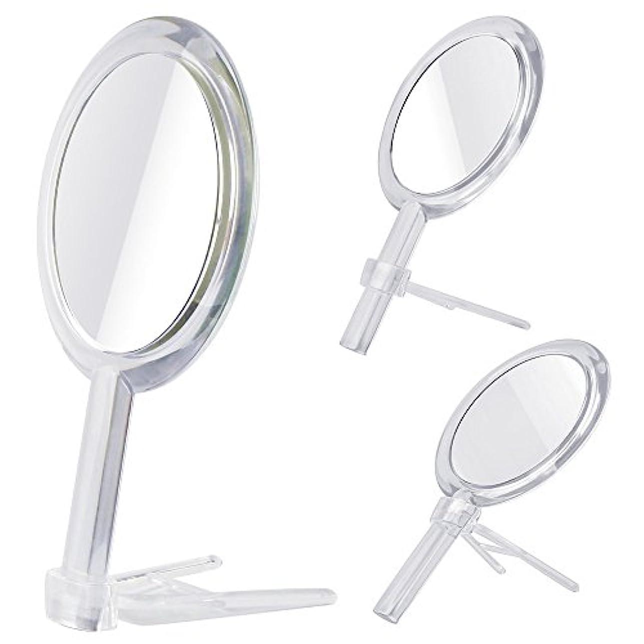 胚モンスター浮浪者Gotofine 両面鏡 手鏡 卓上鏡 7倍と等倍 ハンドミラー スタンドミラー 化粧鏡 メイク クリア 円形