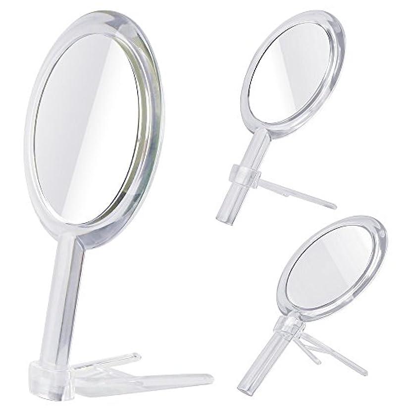 作物熟達オーチャードGotofine 両面鏡 手鏡 卓上鏡 7倍と等倍 ハンドミラー スタンドミラー 化粧鏡 メイク クリア 円形