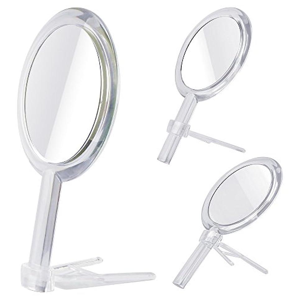 遺伝的バンガロー降ろすGotofine 両面鏡 手鏡 卓上鏡 7倍と等倍 ハンドミラー スタンドミラー 化粧鏡 メイク クリア 円形