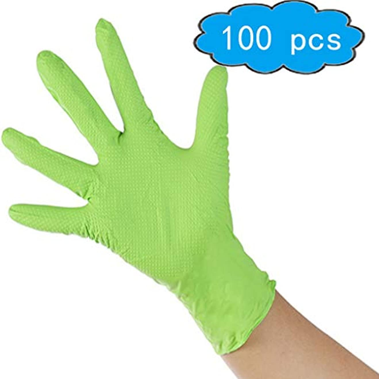 ペニー中央値湖使い捨てゴム手袋-5ミル、工業用、極厚、パウダーフリー、両手利き、オレンジ、ミディアム、100個入りの箱、滑り止めの掌紋、耐摩耗性と耐久性のある機械式ハードウェアゴム手袋 (Color : Green, Size : L)