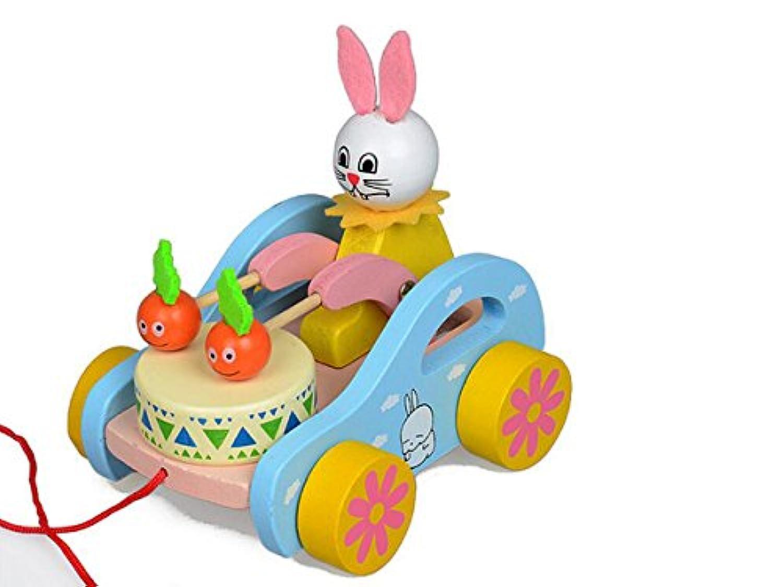 木製動物Cartoon Rabbit Beating Drum Pull Toy