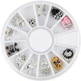 ALEXBIAN ハロウィンネイルアートのヒント3D DIYラインストーンクールパンクシルバーゴールドスカル合金メタルネイルアートの装飾のヒント12個