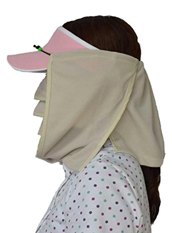地上で三角形短くするUVマスク?マモルーノ?とUV帽子カバー?スズシーノ?のセット(ベージュ)【太陽からの直射光や照り返し.散乱光の紫外線対策や熱射病、熱中症対策に最適の組合せです.】