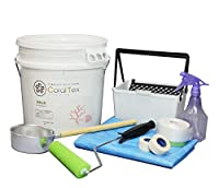 【CORAL TEX】トライアル ローラーセット たっぷり 20kg 珪藻土風 (010 NATURAL WHITE)と塗装道具のセット 塗る人に優しく、環境・健康を考えた西洋漆喰