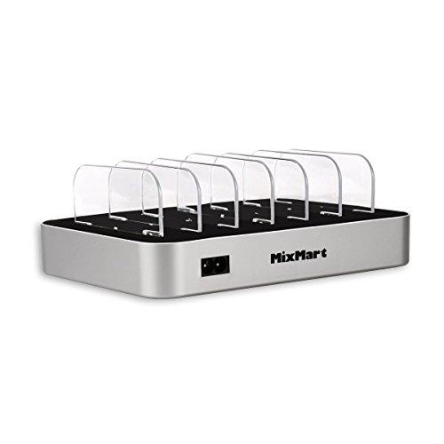 MixMart 6ポートUSB充電器 6台同期 急速充電 ステーション 多功能デスクトップ 充電スタンド iPhones/iPad/Nexus/Galaxy/ タブレットPC スマートフォンなど充電対応(シルバー)