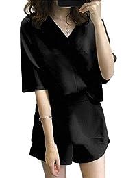 Tootess 婦人用ネックピースレジャー固体色のショートパンツセット