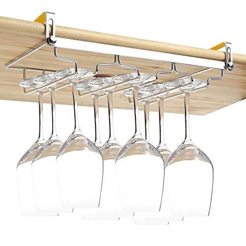 ワイングラスホルダー 吊り下げ 穴あけ不要 ネジ止め不要 ステンレス製 棚厚さ調節可 (3列 奥行28cm)
