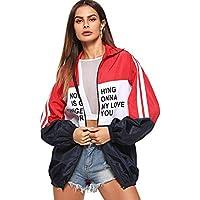 MakeMeChic Women's Color Block Zip Up Sports Casual Jacket Windproof Windbreaker