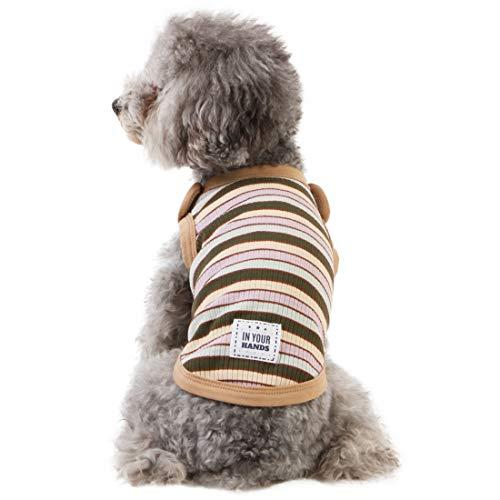 kyeese 犬 服 Tシャツ ドッグウェア 犬の服 春 夏 可愛い おしゃれ ストライプ 小中大型犬 通気性 ペット服 運動シャツ お出掛け用 散歩 ペット用品 (M)
