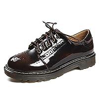 [ブウケ] マニッシュ カジュアル レースアップ オックスフォードシューズ レディース チャンキーヒール おじ靴 ブラウン 歩きやすい ドレスシューズ レースアップシューズ 大きいサイズ 小さいサイズ マニッシュシューズ フラットシューズ 25.0cm