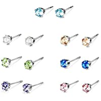 Mestige Solitaire Everyday Pack Stud Earrings with Swarovski® Crystals, Gift