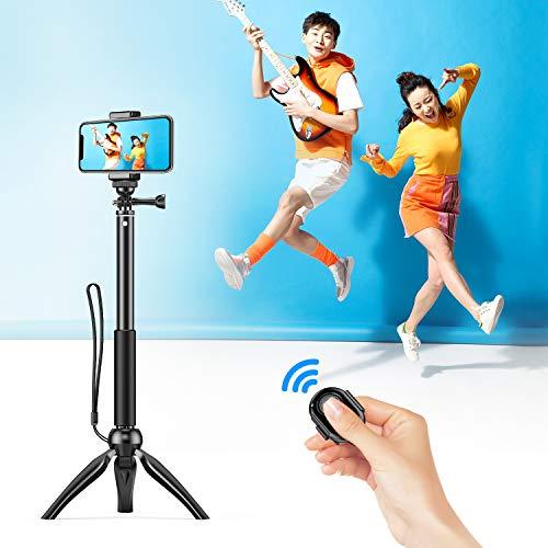 自撮り棒 セルカ棒 SmartPlus 【2018最新改良版】 Bluetooth無線 三脚/一脚兼用 360度回転 軽量 Bluetoothリモコン iPhone/Android多機種 スマホ/一眼レフ/GoPro対応 4段調節 【日本語説明書】 (ブラック)