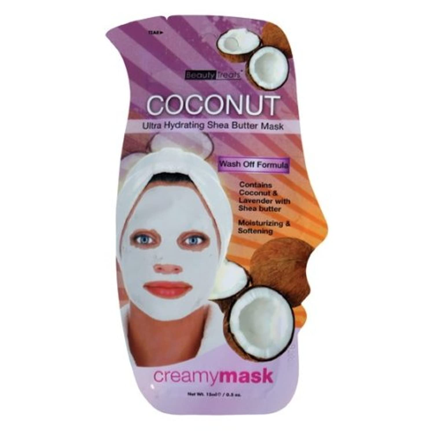 安らぎ宙返りシングル(3 Pack) BEAUTY TREATS Coconut Ultra Hydrating Shea Butter Mask - Coconut (並行輸入品)