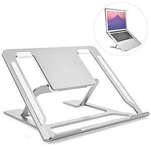 ノートパソコン スタンド pcスタンド ノート 折りたたみ式 高さ/角度調整可能 アルミ合金製 Mackbook/ラップトップ/iPad 約22*約24cm 銀 JBHOO