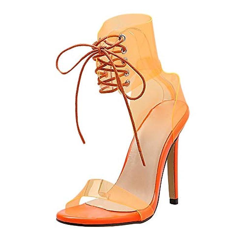 モバイル風多くの危険がある状況[22.5-25cm] PVC 調 シンプル ピンヒール パンプス, レディース ファッション サンダル レースアップ 靴 夏用