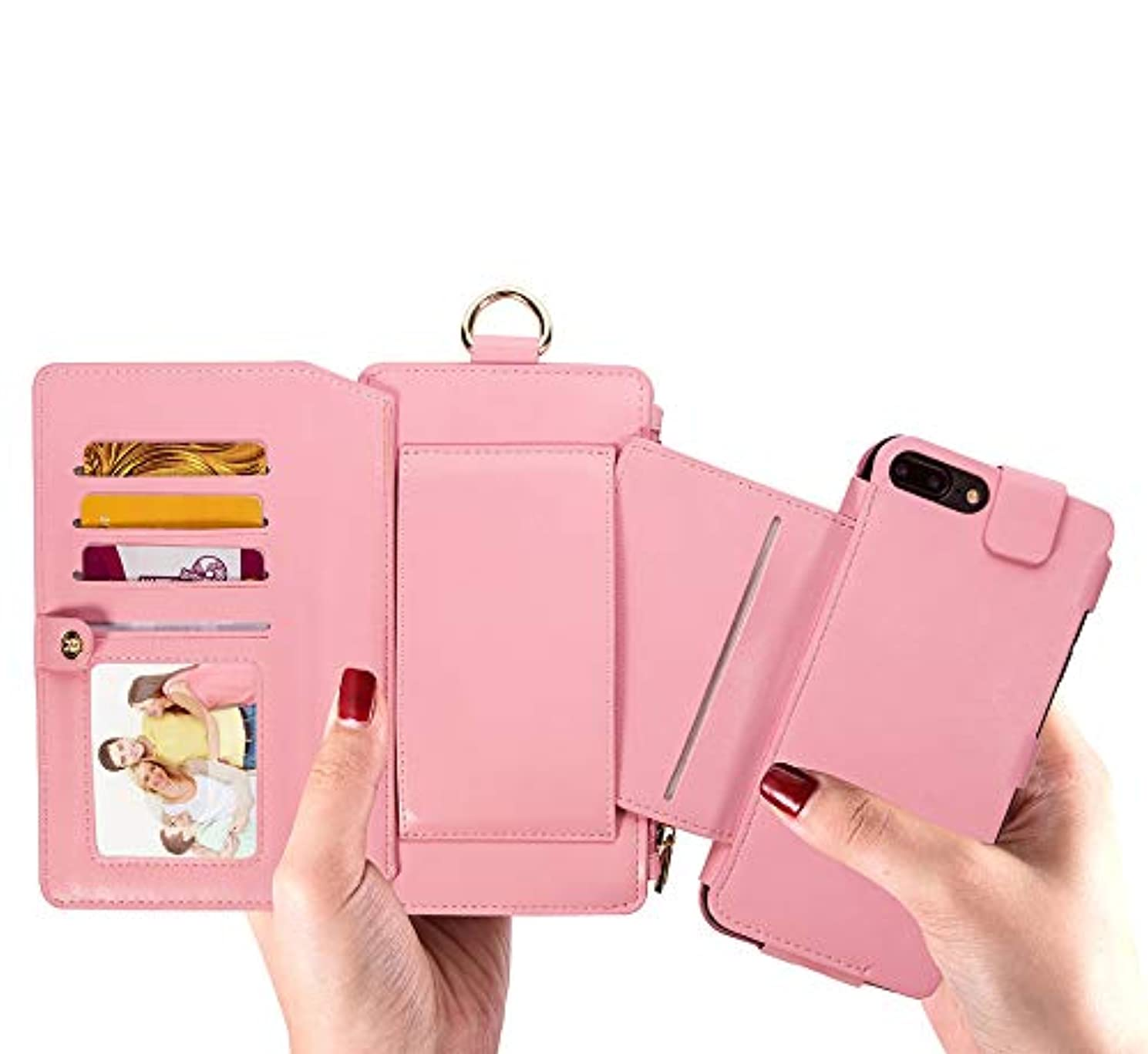 れる作業月曜iPhone 7 パソコンExit包保護套 - 折りたたみ保護袖 - 立ちブラケット-ビジネススタイル-全身保護-内殻金属リング-12札入れ-相枠-取り外し可能な電話ケース財布 4.7インチiPhone 7 / iPhone 8、ピンクに最適