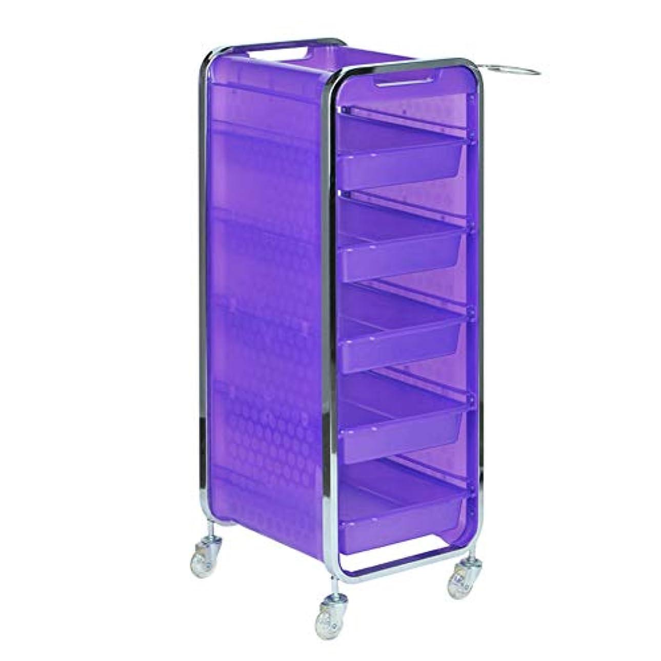 サロン美容院トロリー美容美容収納カート6層トレイ多機能引き出し虹色,Purple,A