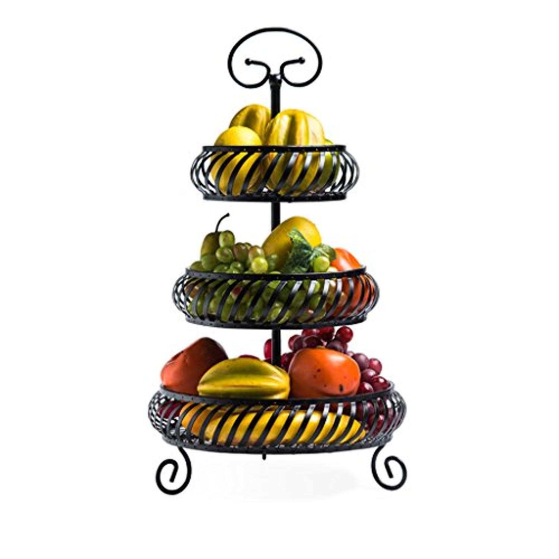 CJH マルチレイヤーファッションクリエイティブフルーツバスケットリビングルームホームキッチンストレージラック3層乾燥フルーツスナックポット