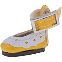 ノーブランド品 かわいい  アンクルストラップ PUレザー 靴 12インチブライスドール対応 7色選べる  - イエロー