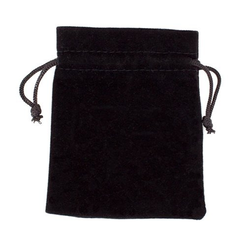 """10Medium 3"""" x 4""""ブラックベロアPouches with Drawstrings by Wiz Dice"""